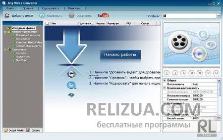 Any Video Converter Free видео конвертер