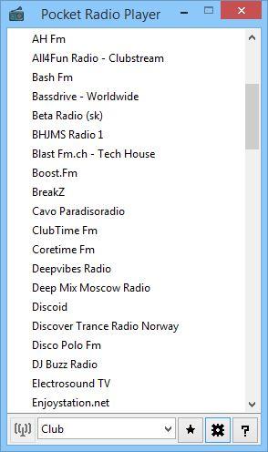 Pocket Radio Player онлайн радио для Виндовс.