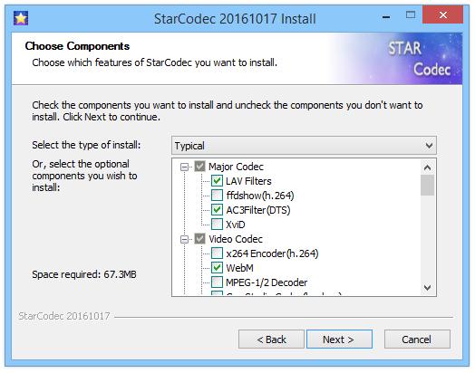 StarCodec пакет кодеков Windows.