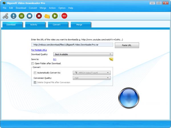 Bigasoft Video Downloader Pro загрузчик видео с Интернета.