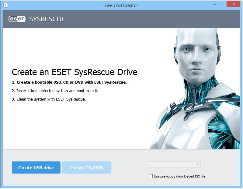 ESET SysRescue Live загрузочный диск - флешка.